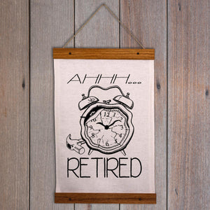 Funny Retirement Wall Hanging - Smashed alarm clock
