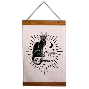 Halloween Black Cat Wall Hanging - Happy Halloween