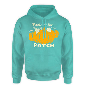 Fall Hooded Sweatshirt - Party at the patch - pumpkin