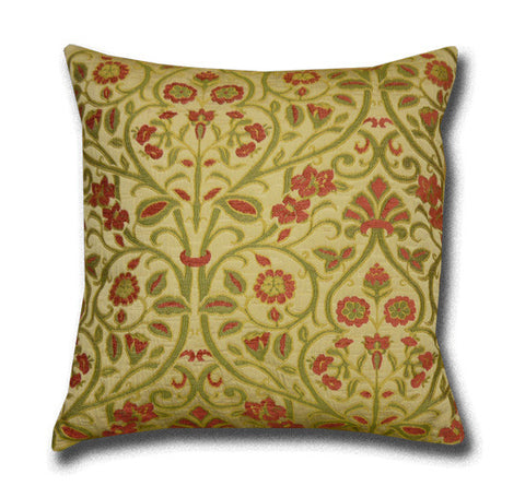 Abbey Cushion, Cranberry/Green (43x43cm)