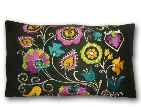 Anoushka Embroidered Long Black Cushion (60x35cm)