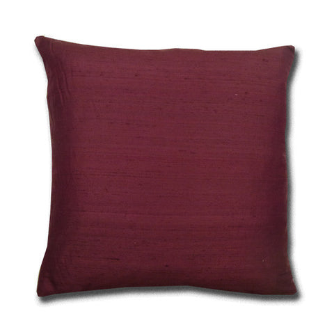 Wine Silk Doupion Cushion (43x43cm)