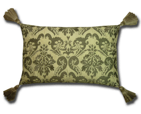 Blenheim Embroidered Silk Cushion, Charcoal / Cream (55x35cm)