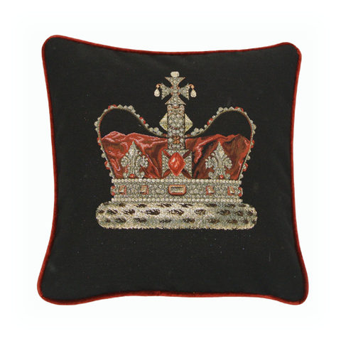Crown Black Tapestry Cushion (44x44cm)