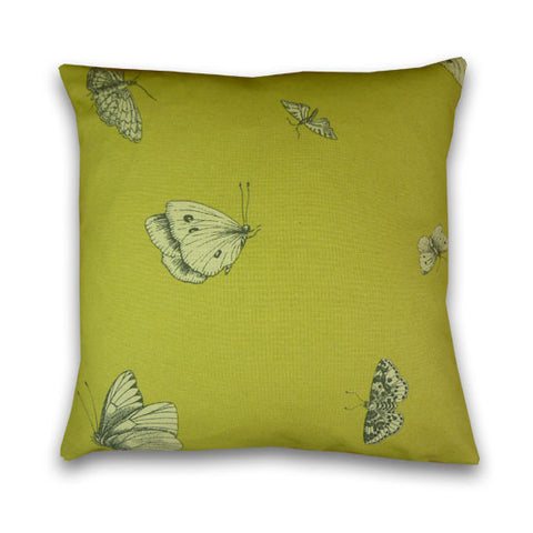 Butterflies Print Cushion, Citrus (43x43cm)