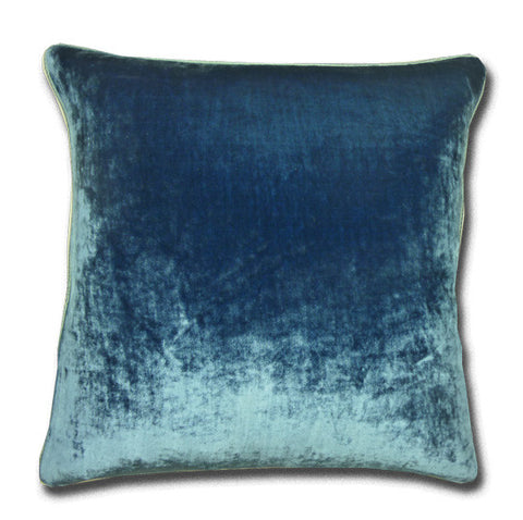 Silk Velvet China Blue Cushion, Silk Piping (44x44cm)