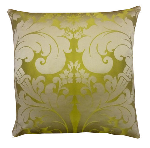 Byron Damask Silk Lime Cushion (50x50cm)