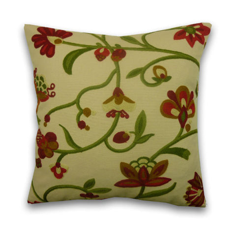 Neena Crewel Work Cushion, Red & Green