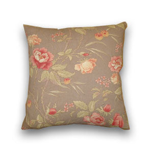 Rose Linen Print Cushion, Cocoa (43cm x 43cm)