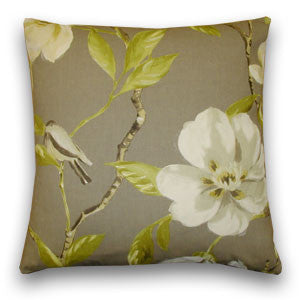 Magnolia & Bird Cushion, Large, Dark Taupe