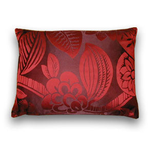 Eltham Vine Silk Cushion, Red (50x33cm)