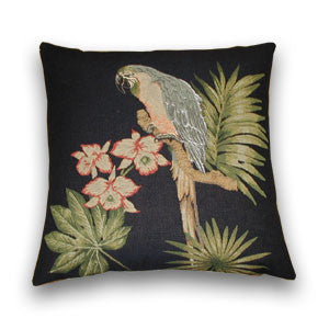 Parrot Tapestry Cushion, Black (43cm x 43cm)
