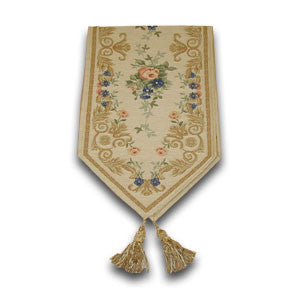 Floral Tapestry Table Runner, Cream & Pink (150x30cm)