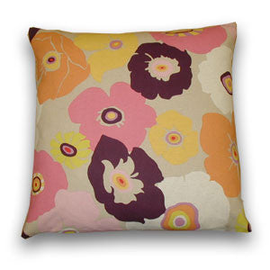 Flower Power Print Cushion, Pink & Port (50x50cm)