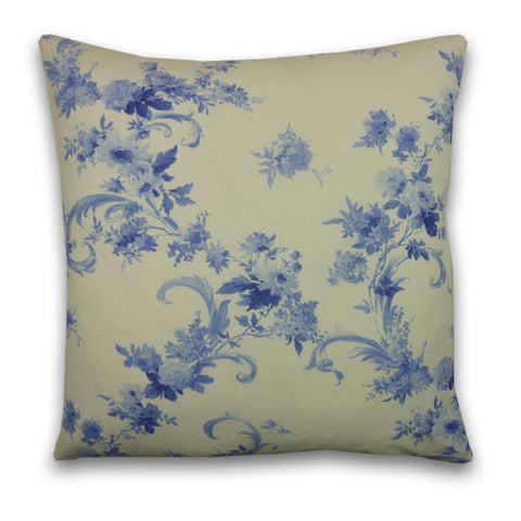 Rococo Print Large Cushion, Cream & Blue