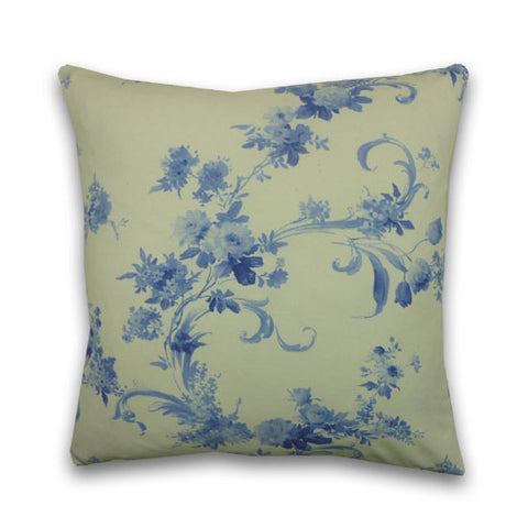 Rococo Print Cushion, Medium,Cream & Blue