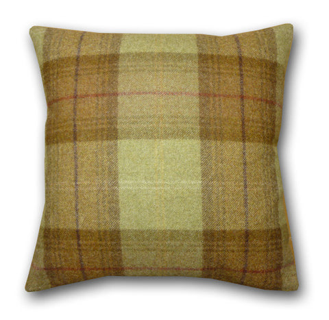 Woodford Plaid Loden & Olive Cushion (42x42cm)