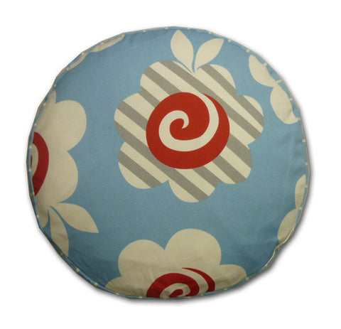 Round Print Blue, Red & White Cushion (37cm x 7cm)