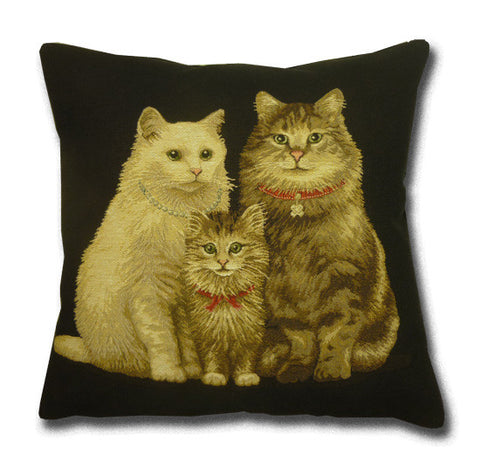Cats Tapestry Black Cushion (44x44cm)