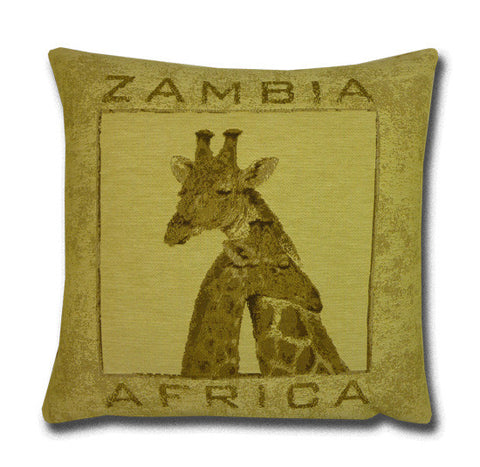 Africa Tapestry Gold Cushion, Giraffe (43x43cm)