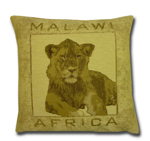 Africa Tapestry Gold Cushion, Lion (43x43cm)