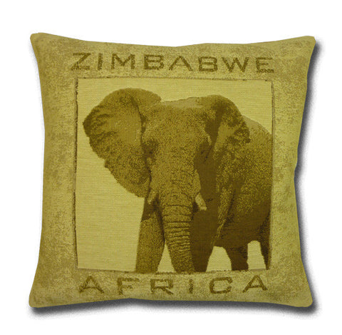 Africa Tapestry Gold Cushion, Elephant (43x43cm)