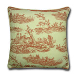 Hunting Toile Red and Cream Cushion