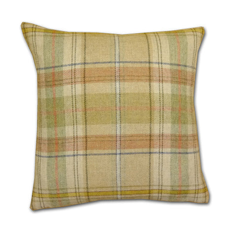Wool Plaid Natural Cushion (43x43cm)
