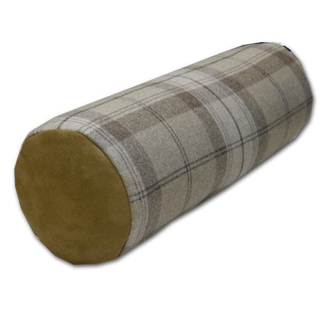 Park Lane Wool Plaid Oatmeal Bolster (46x16cm)