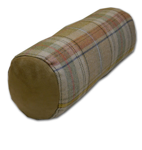 Wool Plaid Natural Bolster Cushion (45x16cm)
