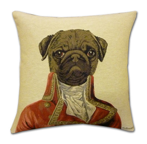 Thierry Poncelet Pug Tapestry Cushion (44x44cm)