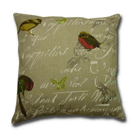 Oiseaux Linen Print Cushion, Neutral