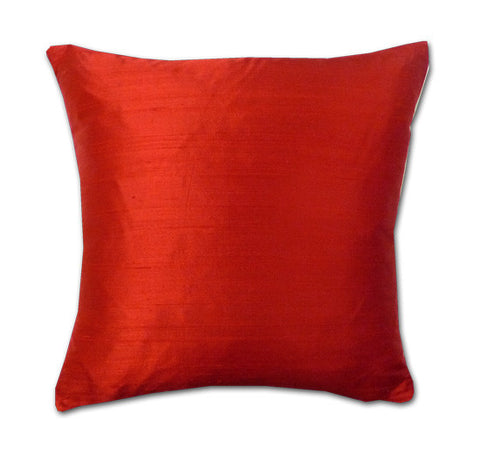 Cherry Red Silk Doupion Cushion (43x43cm)