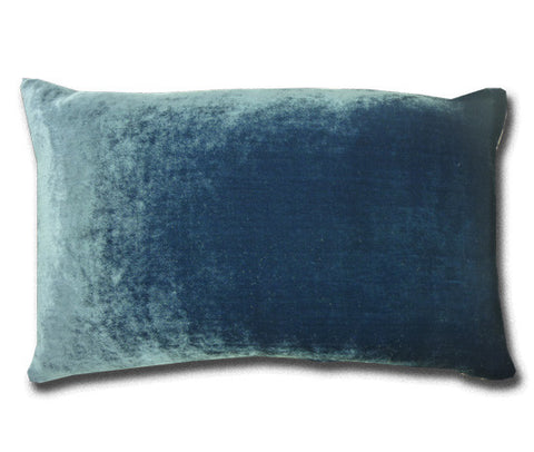 China Blue Silk Velvet 50 x 30cm