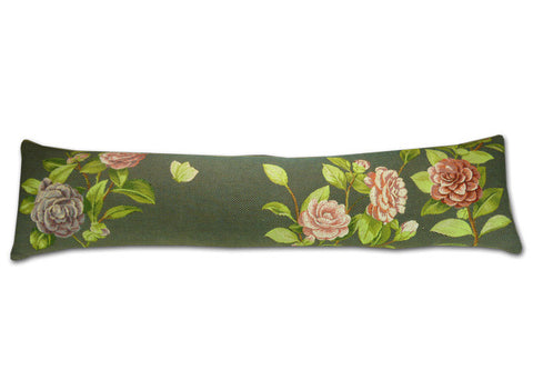 Pink and Charcoal Camelia Draught Excluder (88cm x 20cm)