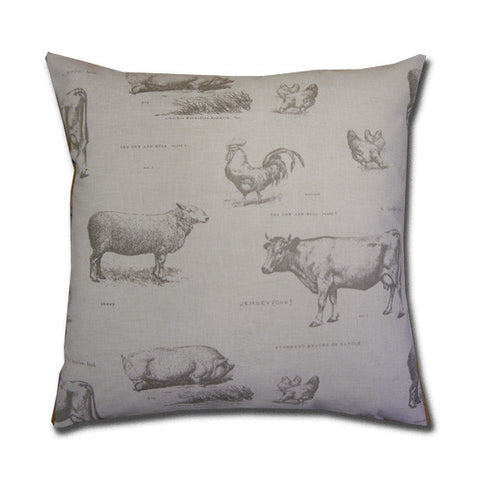 Farmyard Print Cream Cushion (43x43cm)