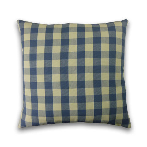 Vintage Check Cushion, Parisian Blue/Cream (43x43cm)