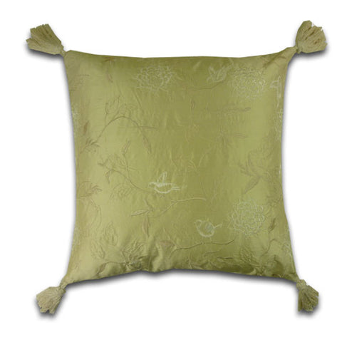 Small Birds Embroidered Silk Cream Cushion (42x42cm)