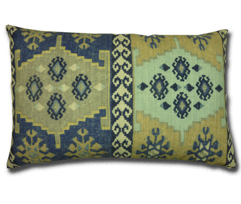 Talish Kilim Cushion, Blue & Beige (58cm x 37cm)