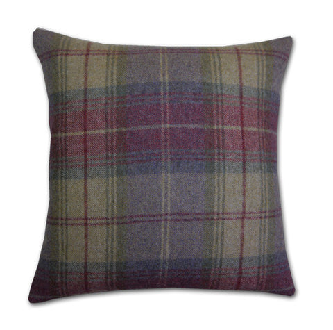 Woodford Plaid Lavender & Moss Cushion (42x42cm)