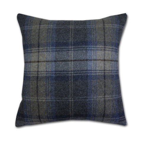 Woodford Plaid Indigo & Pebble Cushion (42x42cm)