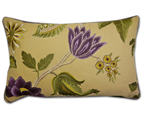 Aubergine Anjolie Embroidered Cushion (60x36cm)