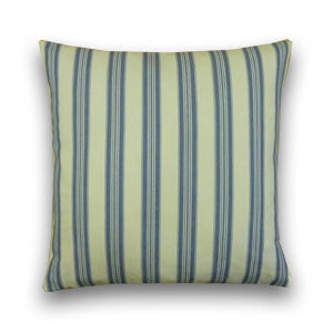 Vintage Ticking Stripe Cushion, Parisian Blue/Cream (43x43cm)