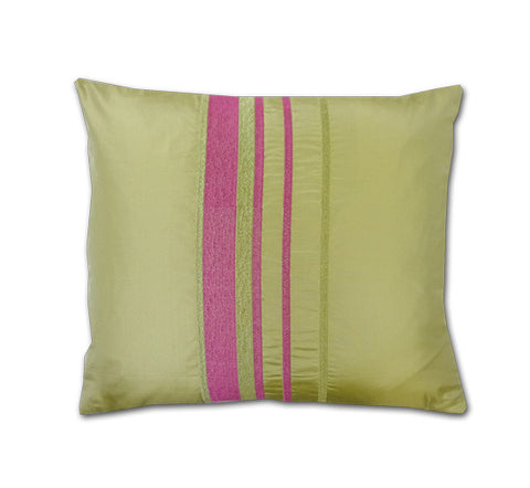 Trellick Apple Green Silk Cushion (40x34cm)