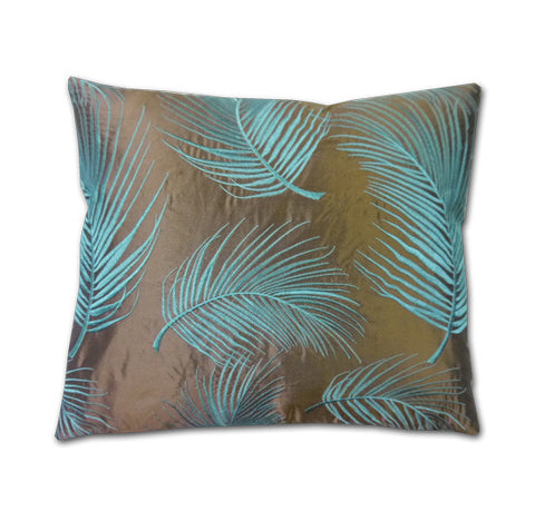 Hanina Ferns Chocolate Silk Cushion (40x34cm)