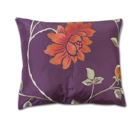 Portobello Aubergine Silk Cushion (40x34cm)