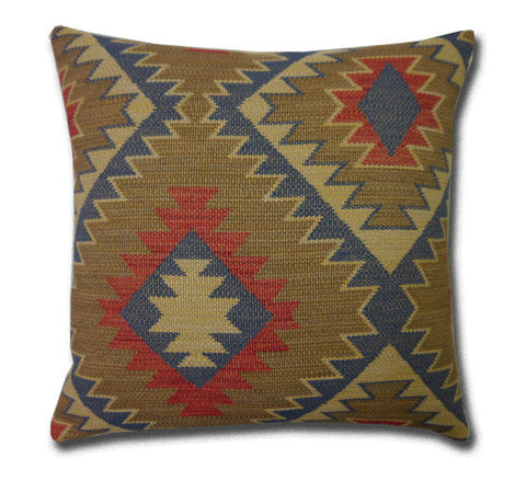 Blue, Red and Gold Kilim style Cushion (43cm x 43cm)