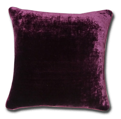 Silk Velvet Cushion, Red Grape, Silk Piping (44x44cm)