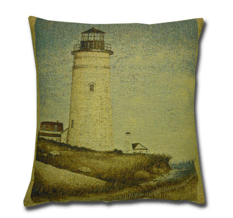 Cream Lighthouse Tapestry Cushion (45x48cm)