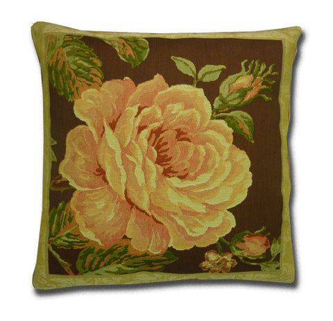 Single Pink Rose and Lace Tapestry Cushion (44cm x 44cm)